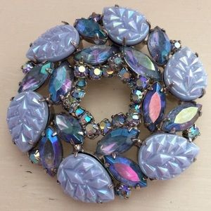 Vintage Art Glass Iridescent Blue Wreath Brooch